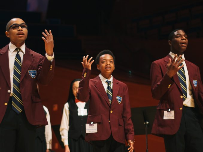 Youth artists from the Kansas City Boys Choir perform on the Helzberg Hall stage at the 2015 Future Stages Festival.